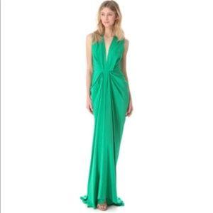 Dresses & Skirts - Stunning Silk Green Plunge Gown